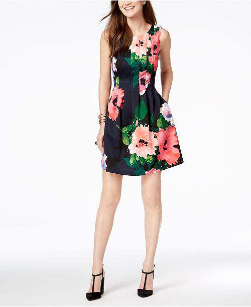 329bf57e8346 Vince Camuto Floral-Print Fit   Flare Dress   Reviews - Dresses ...