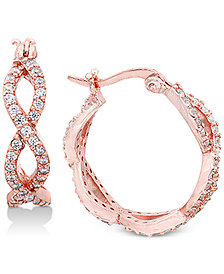 Giani Bernini Cubic Zirconia Infinity Hoop Earrings in 18k Rose Gold-Plated Sterling Silver, Created for Macy's