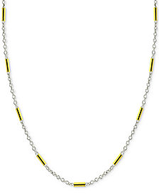 "Giani Bernini 20"" Two-Tone Bar Link Chain Necklace in Sterling Silver & 18k Gold-Plate, Created for Macy's"