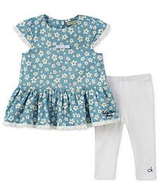 Calvin Klein Floral Tunic & Leggings Set, Baby Girls