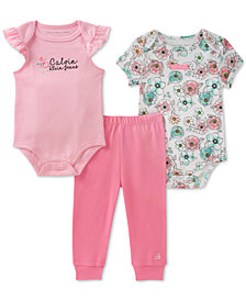 Calvin Klein 3-Pc. Cotton Bodysuit & Pants Set, Baby Girls