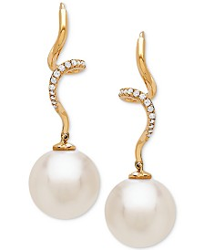 Cultured White Ming Pearl (12mm) and Diamond (1/10 ct. t.w.) Twist Drop Earrings in 14k Gold