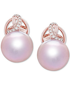 Honora Cultured Ming Pearl (12mm) & Diamond (1/10 ct. t.w.) Stud Earrings in 14k Rose Gold