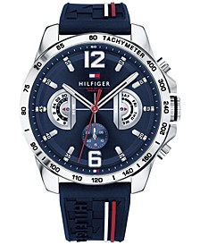 Men's  Navy Silicone Strap Watch 46mm, Created for Macy's