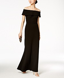 Ruffled-Back Off-The-Shoulder Gown, Regular & Petite Sizes