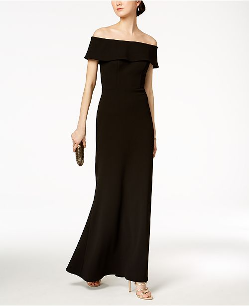 Betsy & Adam Ruffled-Back Off-The-Shoulder Gown, Regular & Petite Sizes