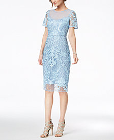 JAX Sequined Embroidered Mesh Dress