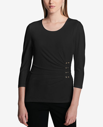 Calvin Klein 3/4-Sleeve Side-Laced Top