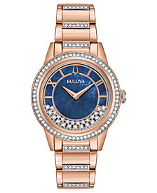 Bulova Women's Dress Rose Gold-Tone Stainless Steel Bracelet Watch 32.5mm