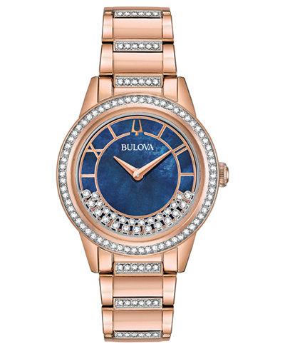 Bulova Women's Dress Rose Gold-Tone Stainless Steel Bracelet Watch 32.5mm
