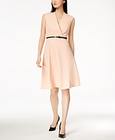 Calvin Klein Belted Fit & Flare Dress, Regular & Petite Sizes