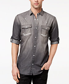 I.N.C. Men's Destroyed Denim Utility Shirt, Created for Macy's