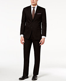 Perry Ellis Men's Slim-Fit Stretch Black Solid Suit