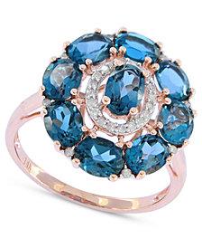 London Blue Topaz (4-1/2 ct. t.w.) & Diamond (1/8 ct. t.w.) Ring in 14k Rose Gold