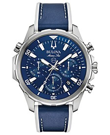 Men's Chronograph Marine Star Blue Leather & Silicone Strap Watch 43mm