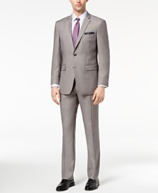 Perry Ellis Men's Slim-Fit Stretch Silver Solid Suit