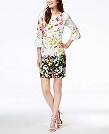 Jessica Howard Floral-Print Bell-Sleeve Dress