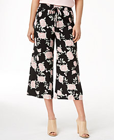 kensie Printed Cropped Wide-Leg Pants