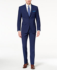 Perry Ellis Men's Slim-Fit Stretch Bright Blue Check Suit
