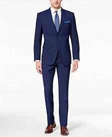 Perry Ellis Men's Slim-Fit Stretch Bright Blue Check Suit