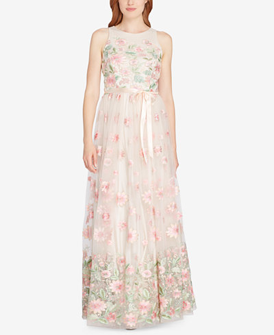 Tahari Floral-Embroidered A-Line Gown