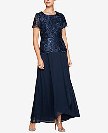 Alex Evenings Sequined Embroidered Short-Sleeve Gown
