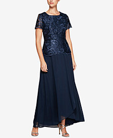 Alex Evenings Petite Sequined Embroidered Gown