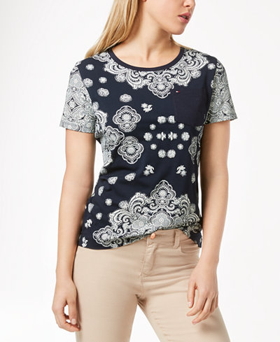 Tommy Hilfiger Bandana-Print T-Shirt, Created for Macy's