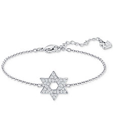 Swarovski Silver-Tone Crystal Star of David Chain Bracelet