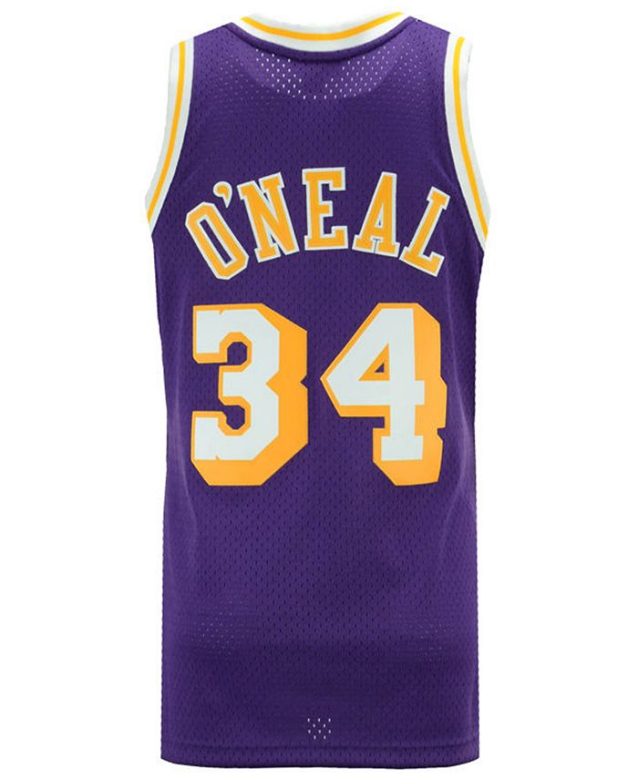 Mitchell & Ness Men's Shaquille O'Neal Los Angeles Lakers Hardwood ...