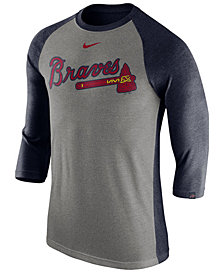 Nike Men's Atlanta Braves Tri-Blend Three-Quarter Raglan T-shirt