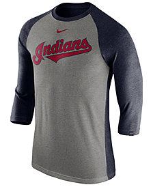 Nike Men's Cleveland Indians Tri-Blend Three-Quarter Raglan T-shirt