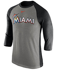 Nike Men's Miami Marlins Tri-Blend Three-Quarter Raglan T-shirt