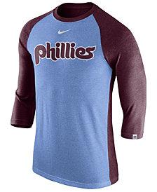 Nike Men's Philadelphia Phillies Tri-Blend Three-Quarter Raglan T-shirt