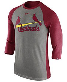 Nike Men's St. Louis Cardinals Tri-Blend Three-Quarter Raglan T-shirt