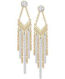 Two-Tone Crystal Fringe Drop Earrings