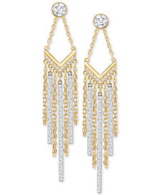 Swarovski Two-Tone Crystal Fringe Drop Earrings