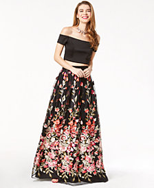 Trixxi Juniors' 2-Pc. Off-The-Shoulder Gown