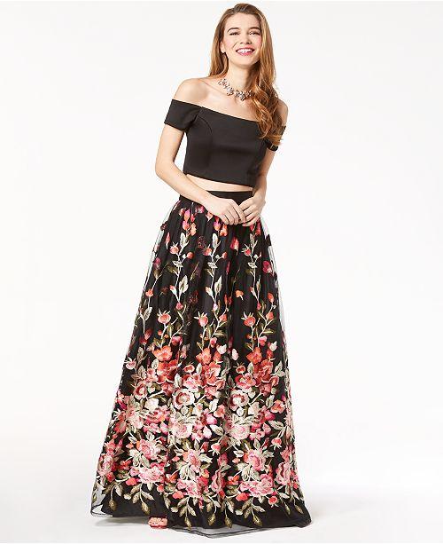 633cabfa652 Trixxi Juniors  2-Pc. Off-The-Shoulder Gown   Reviews - Dresses ...