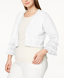 Calvin Klein Plus Size Tiered-Sleeve Shrug