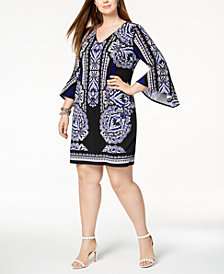 I.N.C. Plus Size Flared-Cuff Shift Dress, Created for Macy's