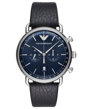 ARMANI COLLEZIONI Men'S Chronograph Blue Leather Strap Watch 43Mm