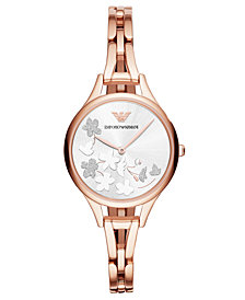 Emporio Armani Women's Rose Gold-Tone Stainless Steel Bracelet Watch 32mm