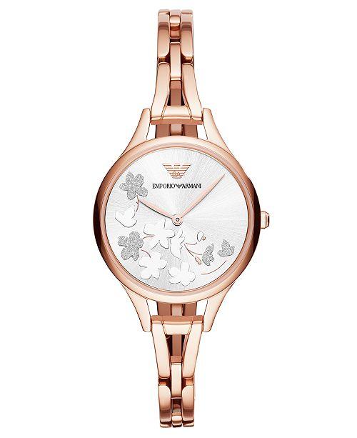 5ad0a1e080 Emporio Armani Women's Rose Gold-Tone Stainless Steel Bracelet ...