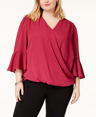 Inc International Concepts I N C Plus Size Bell Sleeve High Low
