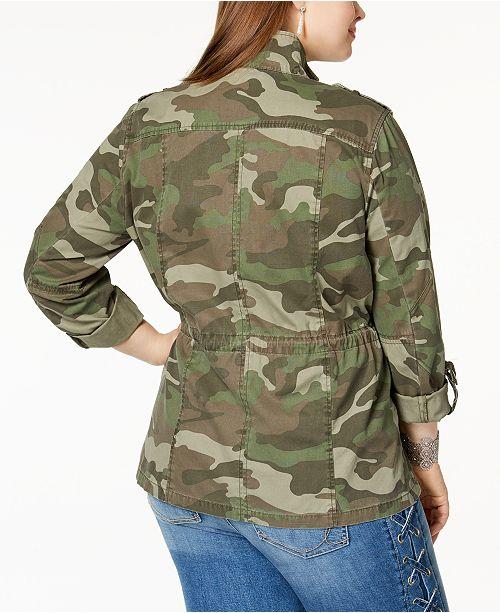 ea94f0a978d28 INC International Concepts I.N.C. Plus Size Cotton Camouflage Jacket ...