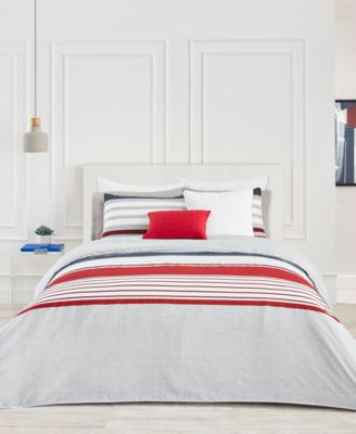image 1 of lacoste home auckland red fullqueen duvet cover set
