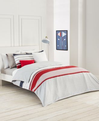 Image 2 Of Lacoste Home Auckland Red Full/Queen Duvet Cover Set