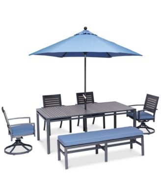 """Harlough II Outdoor 6-Pc. Dining Set (84"""" x 42"""" Dining Table, 2 Dining Chairs, 2 Swivel Rockers, and 1 Armless Bench) with Sunbrella® Cushions, Created for Macy's"""