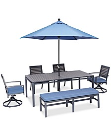 "Harlough II Outdoor 6-Pc. Dining Set (84"" x 42"" Dining Table, 2 Dining Chairs, 2 Swivel Rockers, and 1 Armless Bench) with Sunbrella® Cushions, Created for Macy's"